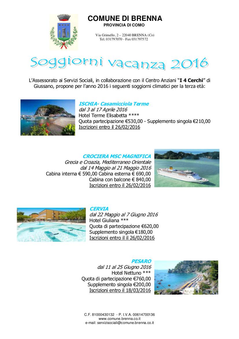 Soggiorni vacanza 2016 – AgoràBrenna